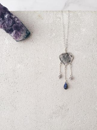 Reticulated silver pendant + labradorite