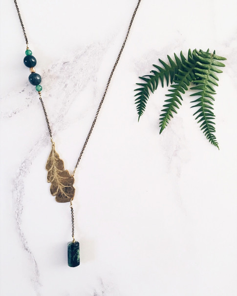Tropical palm leaf necklace, brass + green gemstones