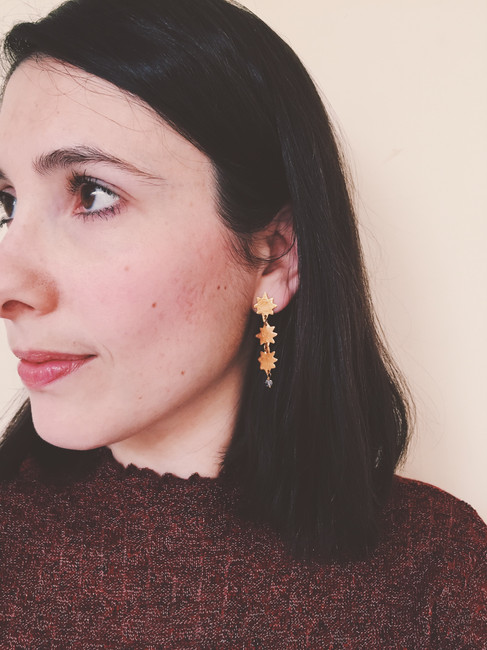 Three Stars earrings, 22kt gold plated brass herkimer diamonds