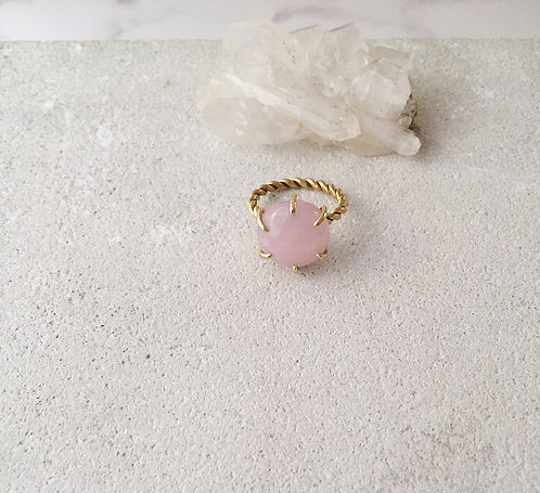 Rose quartz braided ring, gold brass and rose pink gem twisted ring