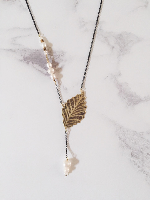 Ash leaf necklace, brass + white pearls