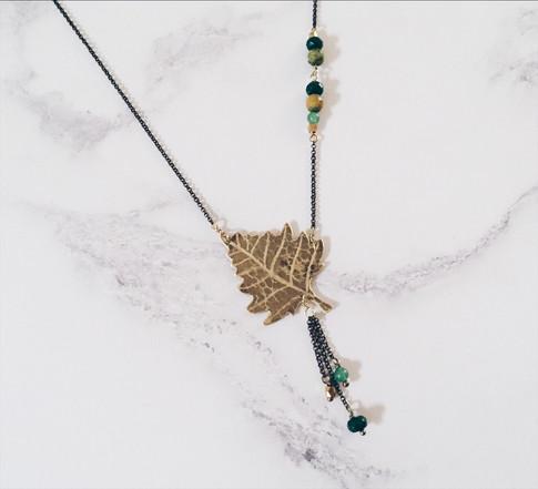 Silver birch leaf necklace, brass + green gemstones