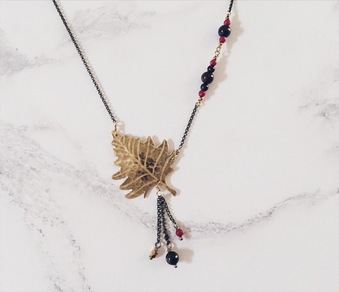 Silver birch leaf necklace, brass + red gemstones