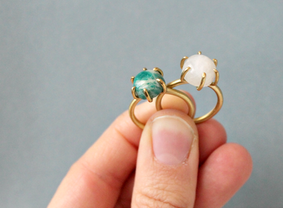Amazonite and moonstone rings, brass