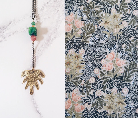 Monstera Deliciosa leaf necklace, brass + green gemstones