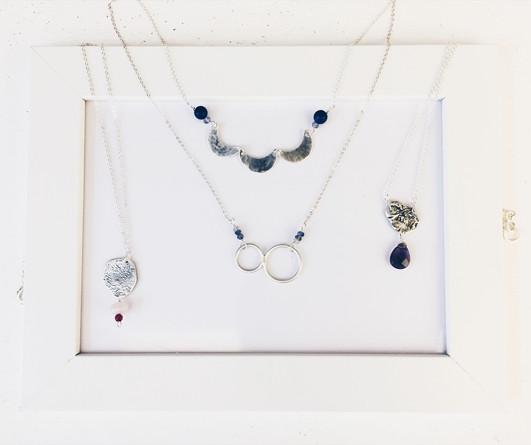 Sterling silver necklaces + gemstones