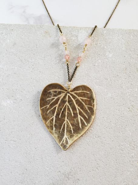Maxi cercis canadensis leaf necklace, brass, rose quartz