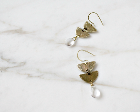 Double half moon earrings, brass and crystal quartz drop gemstones