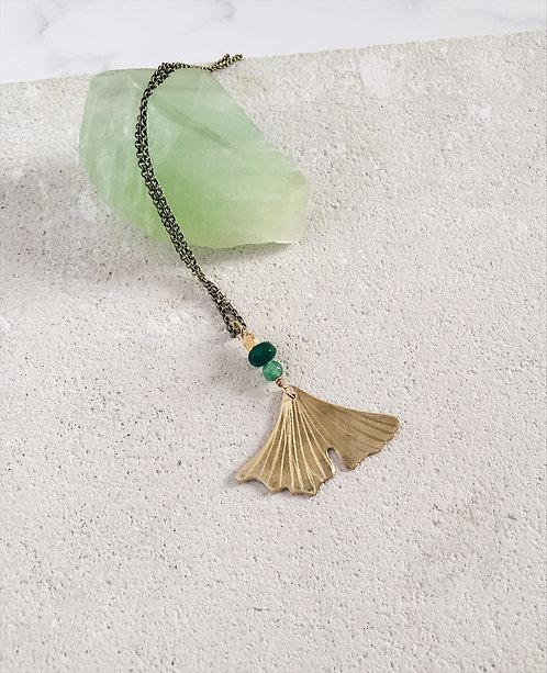 Ginkgo biloba pendant, brass and green beads