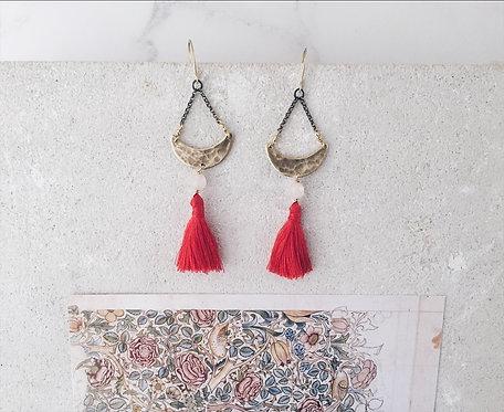 Crescent moon tassel earrings, pink tassel earrings, rose quartz