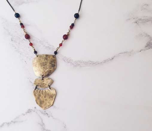 Statement tribal necklace, brass garnet carnelian