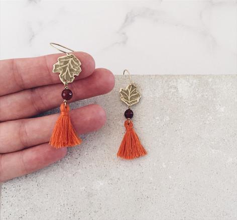Sycamore leaf tassel earrings, rust orange carnelian