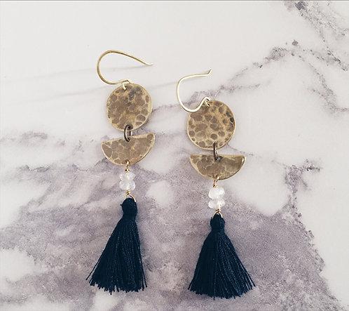 Moon phases earrings, dark navy tassel earrings, brass and moonstone