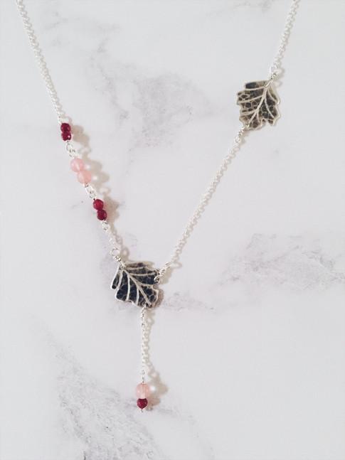 Sycamore leaf necklace, silver + pink gemstones