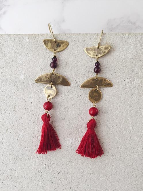 Fire Dance earrings - brass, red tassels, garnet