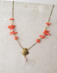 Shell necklace, brass, bamboo coral and rose quartz