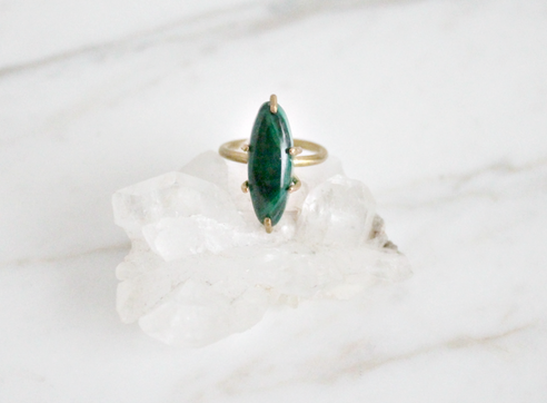 Malachite ring, brass