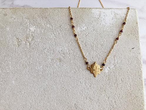 Northern Star necklace, dark wine red garnet, simple brass or 22kt gold plated