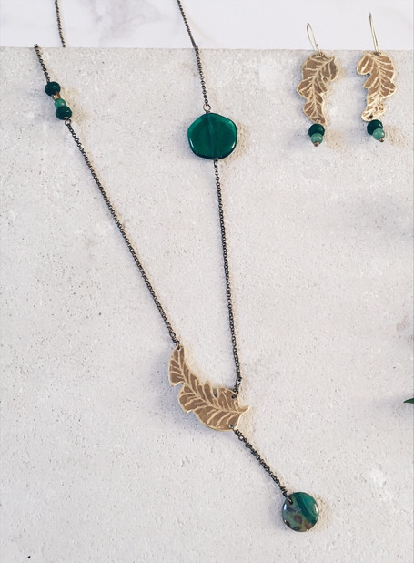 Banana leaf earrings + necklace, green gemstones