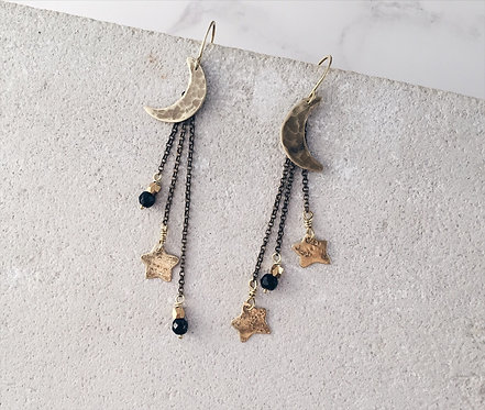 Shooting stars and crescent moon earrings, brass and black onyx