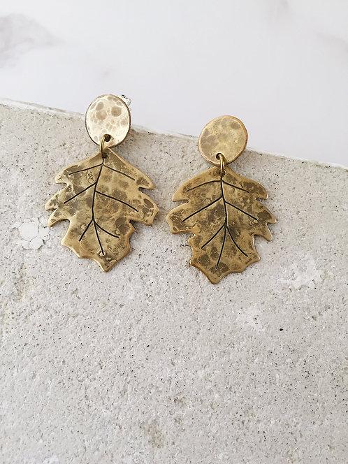 Sycomore leaf earrings, brass post dangle earrings