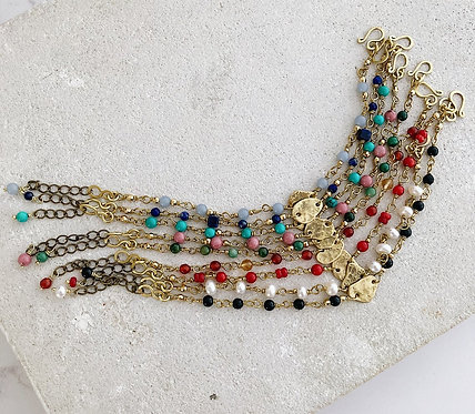 Brass pebble bracelet, colourful gemstone beaded bracelet