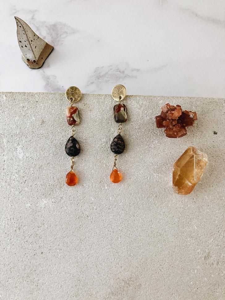 Magma earrings, brass, picasso jasper, leopard skin jasper, carnelian