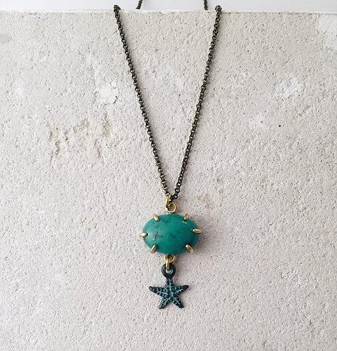 Turquoise necklace, turquoise gemstone and starfish