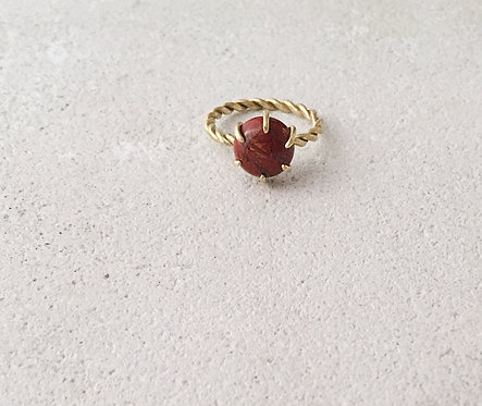 Brick red gem twisted ring, gold brass and red jasper semiprecious stone