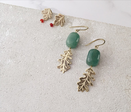 Sycamore leaf post earrings, English Oak earrings