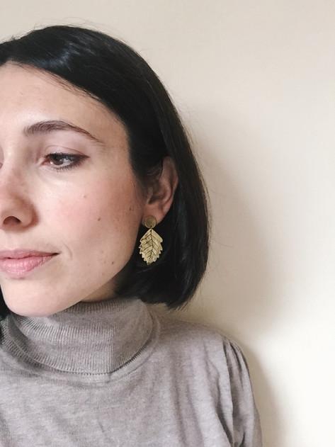 Ash leaf earrings
