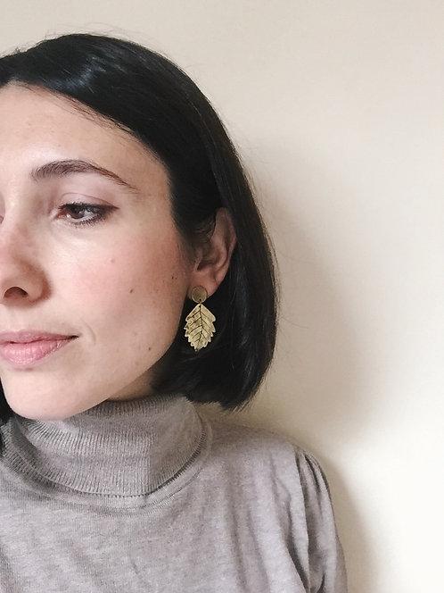 Ash leaf earrings, brass post dangle leaf earrings