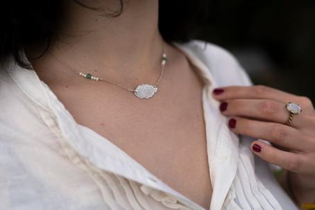 Ash leaf necklace, silver, aventurine, freshwater pearls