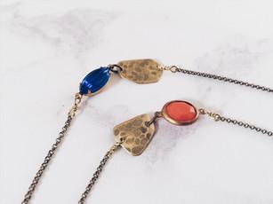 Fragments - brass + vintage glass bracelets
