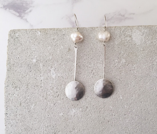 Full Moon earrings sterling silver and freshwater pearls
