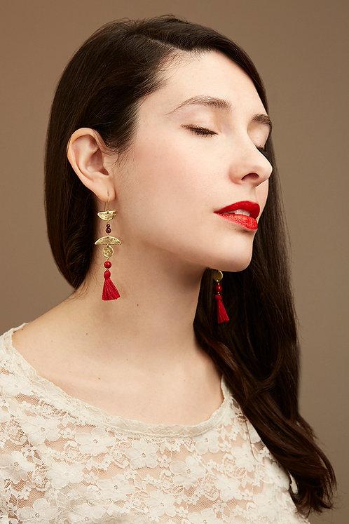 Fire Dance earrings, red tassel tribal earrings, garnet and jade