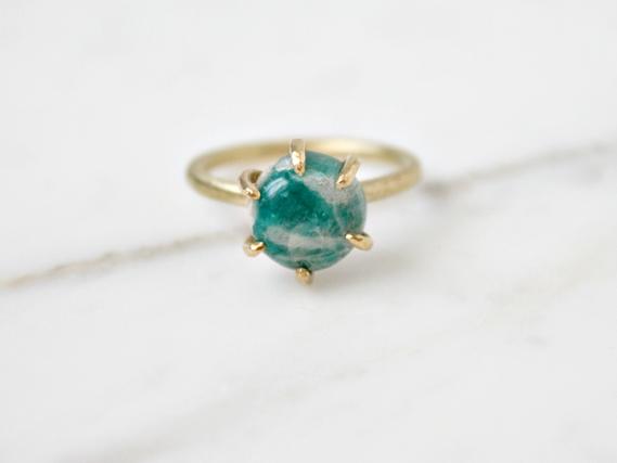 Amazonite ring, brass