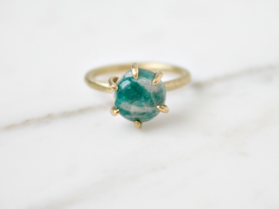 Amazonite ring, brass