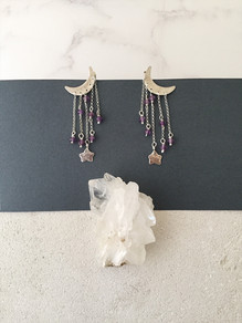 Starry Night earrings, silver and amethyst