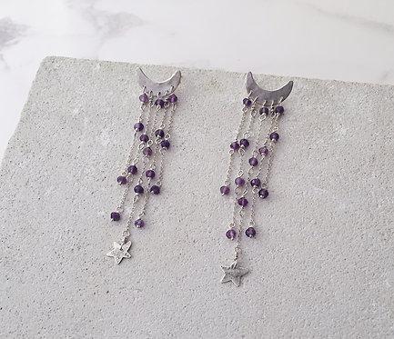 Crescent moon cascade earrings, sterling silver & amethyst