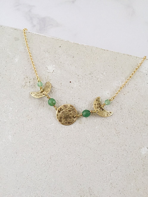 Moonrise in the pine grove Moon phases necklace, brass + green aventurine