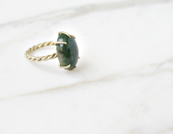 Aventurine ring, twisted brass band