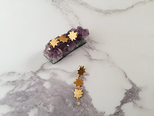 Three Stars long dangle earrings, brass + herkimer diamonds, or 22kt gold plated