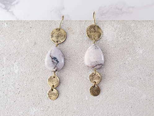Discs statement dangle earrings - brass and white grey crazy lace agate
