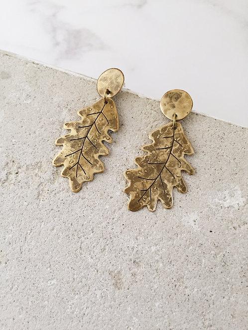 Oak leaf post dangle earrings in brass