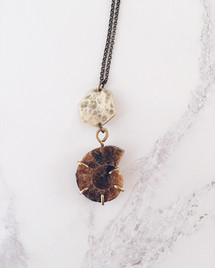 Ammonite fossil necklace in brass