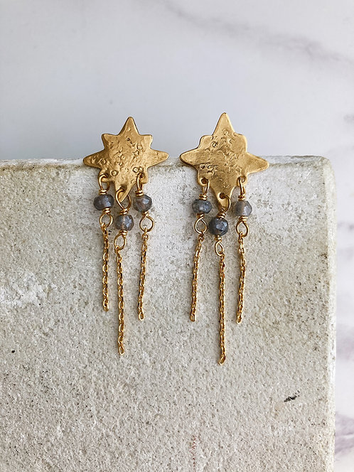 North Star post earrings, simple brass or 22kt gold plated + labradorite