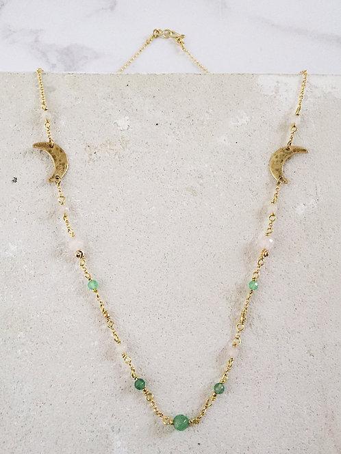 Island wildflowers crescent moon necklace, brass, rose quartz green, aventurine