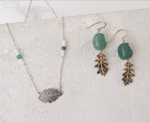 Ash leaf necklace, English Oak earrings