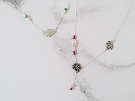 Leaf necklaces, sterling silver and gemstones